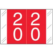 Tabbies 11200 Match CRDM Series Numeric Roll Labels - Number 20 To 29 - Red