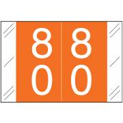 Tabbies 11200 Match CRDM Series Numeric Roll Labels - Number 80 To 89 - Orange