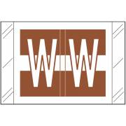 Tabbies 12030 Match CXAM Series Alpha Roll Labels - Letter W - Brown and White Label