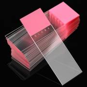 Microscope Slides - Diamond White Glass - 90° Ground Edges 90° Corners - Pink Frosted 1 End 1 Side