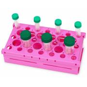 Pop-Up Rack for 15mL Tubes (21-Well) & 50mL Tubes (12-Well) - Pink