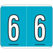 Kardex PSF-138 Match KXNM Series Numeric Roll Labels - Number 6 - Blue