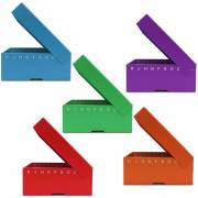 FlipTop Cardboard Freezer Box 100-Place with Attached Hinged Lid - Assorted Colors (Pack of 5)