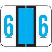 Tab Products Match TPNV Series Numeric Roll Labels - Number 6 - Blue
