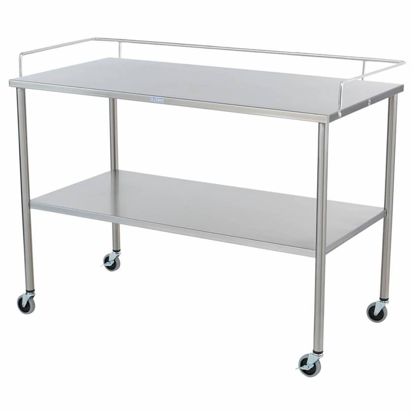 Blickman Stainless Steel Howard Instrument Table with Shelf and 3-Sided Guardrail Model 3026SS