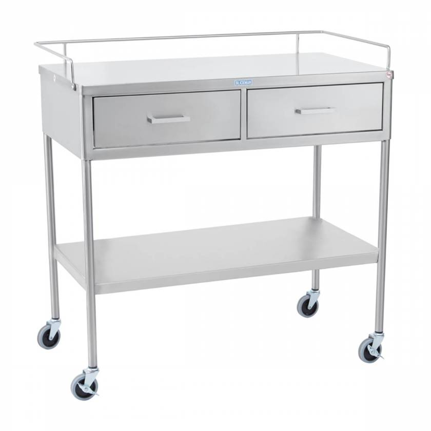 Blickman SS Utility Table with Shelf, Guard Rail and Two Side by Side Drawers