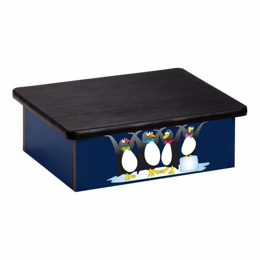 Clinton 10-CP-2 Pediatric Laminate Step Stool - Cool Pals Penguins Graphic on Blue
