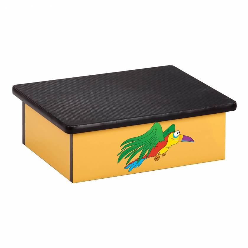 Clinton 10-R Pediatric Laminate Step Stool - Rainforest Parrot Graphic on Yellow