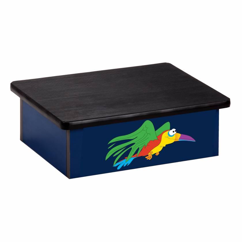 Clinton 10-RPB Pediatric Laminate Step Stool - Rainforest Parrot Graphic on Blue