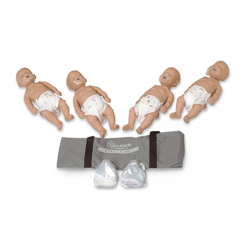 Simulaids Sani-Baby CPR Manikins - Pack of 4 - Light