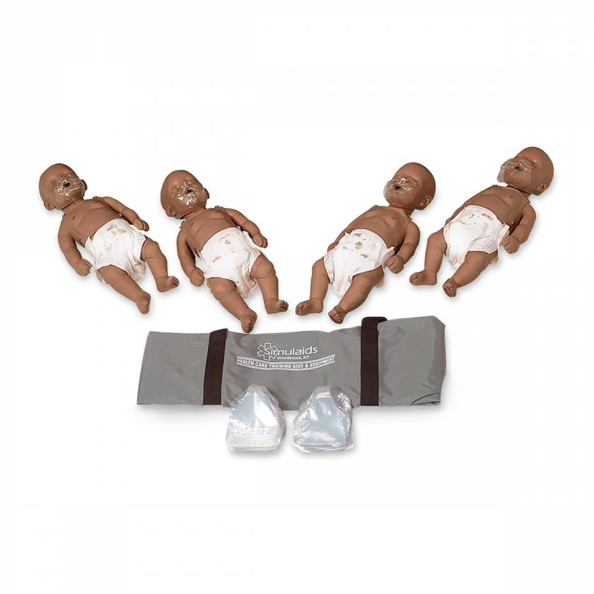Simulaids Sani-Baby CPR Manikins - Pack of 4 - Dark