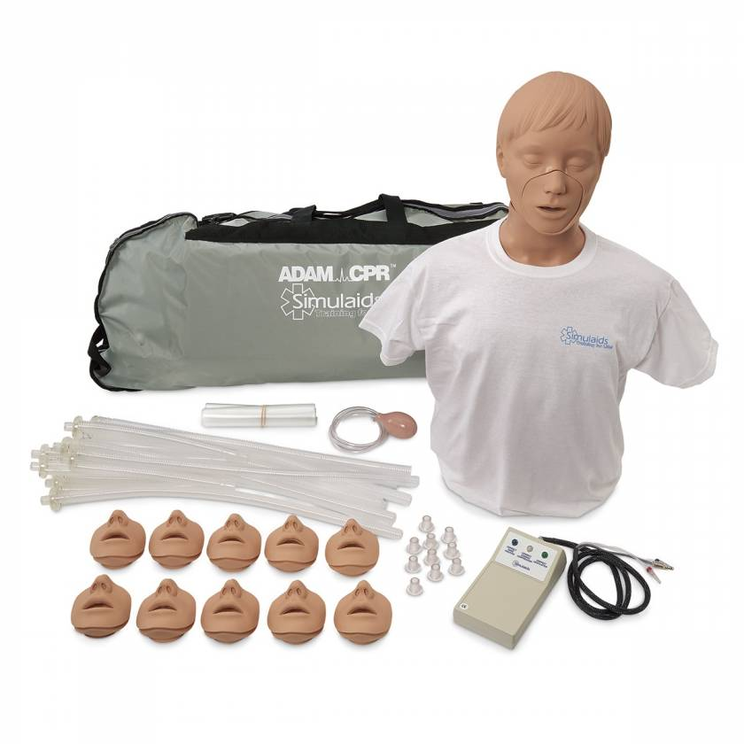 Simulaids Adam CPR Training Manikins with Electronics and Carry Bag - Light