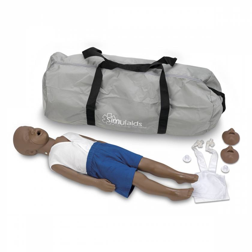 Simulaids Kyle 3-Year-Old CPR Manikin with Carry Bag - Dark