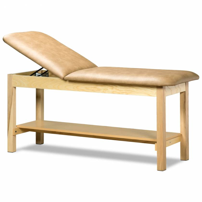 Clinton Model 1020 Classic Series Treatment Table with Adjustable Backrest & Shelf