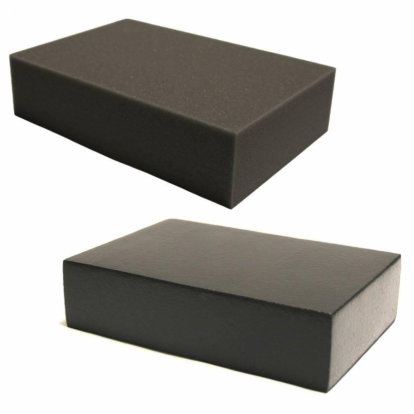 "Domico Med-Device Rectangle Foam Positioner 3""H x 8""W x 12""L - #103 Uncovered Standard Foam & 103-SCB ScanCoat Black Foam"