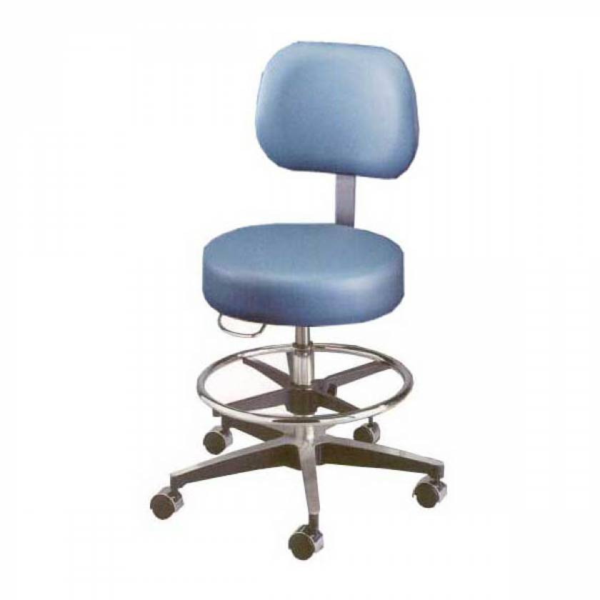 Model 11001BVFR Century Pneumatic Stool with Backrest, Seamless Seat, and Adjustable Footring
