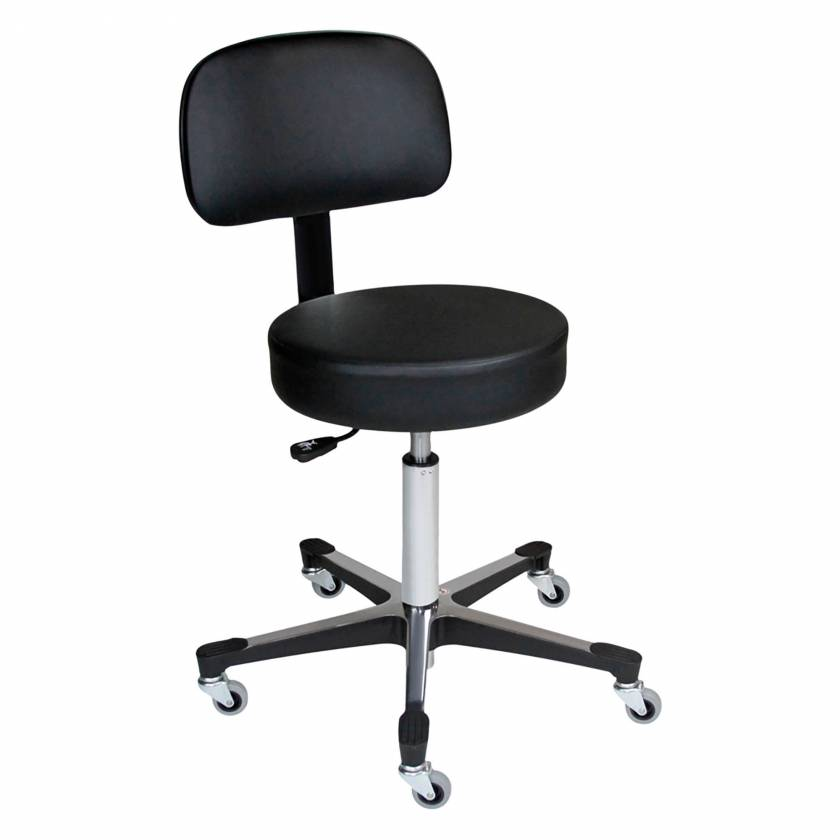 Blickman Model 1210WB 5-Leg Hand Operated Pneumatic Exam Stool With Back Rest