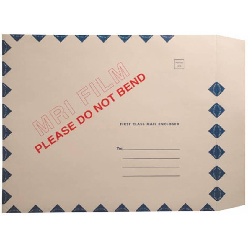"15"" x 18"" Open End MRI Film Mailer - Manila Peel & Seel - Blue Diamond Border"