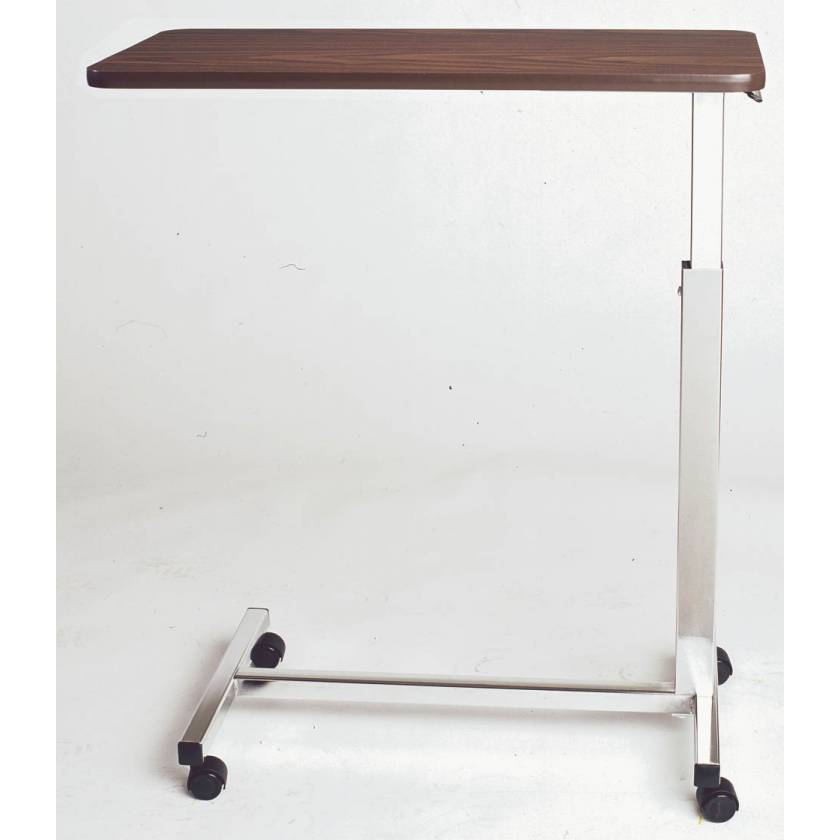 Novum Medical Model 125 Economy Overbed Table - Melamine Laminate Top without Vanity - Spring Assisted Lift Mechanism