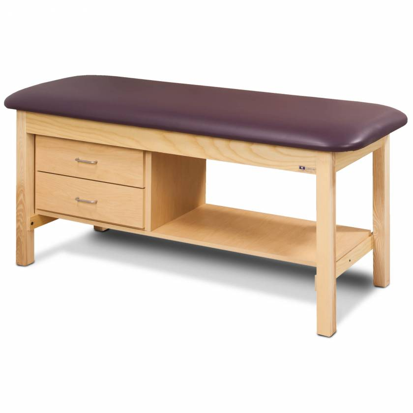 Clinton Model 1300 Flat Top Classic Series Treatment Table with Shelf & 2 Drawers