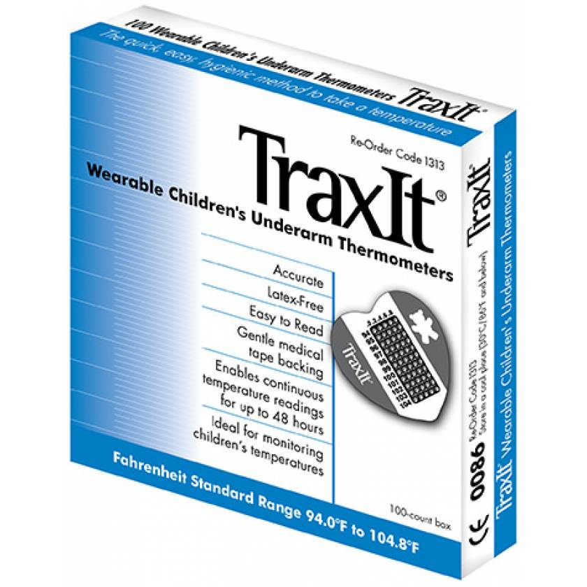 TraxIt Wearable Stick-On Underarm Thermometer