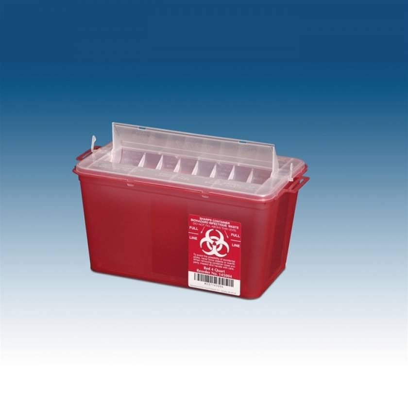 4 Qt. Horizontal Sharps Container Red