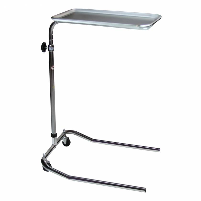 Blickman Model 1515 Chrome Single-Post Mayo Stand with Stainless Steel Tray