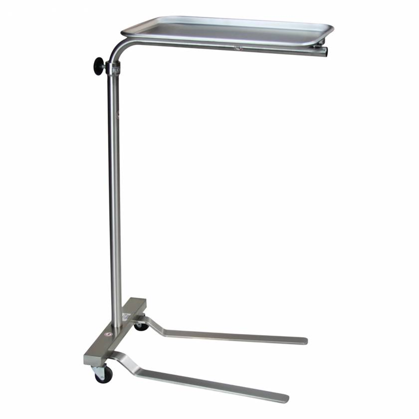 "Blickman Model 1520SS Stainless Mayo Stand with Tru-Loc Friction Knob - Height Adjustment 37.25"" - 64"""