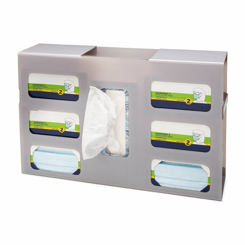 FlexiStore Side Fill Earloop Face Mask + Tissue Dispenser - 6 Mask, 1 Tissue - Cloud