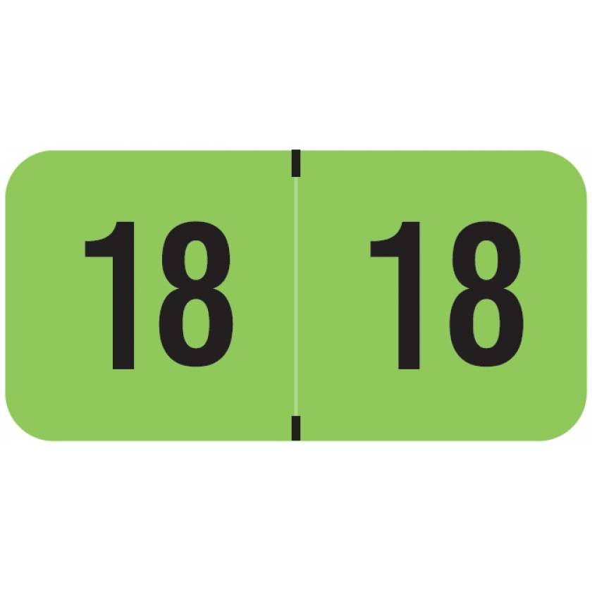 """2018 Year Labels - PMA Fluorescent Green - Size 3/4"""" H x 1 1/2"""" W"""