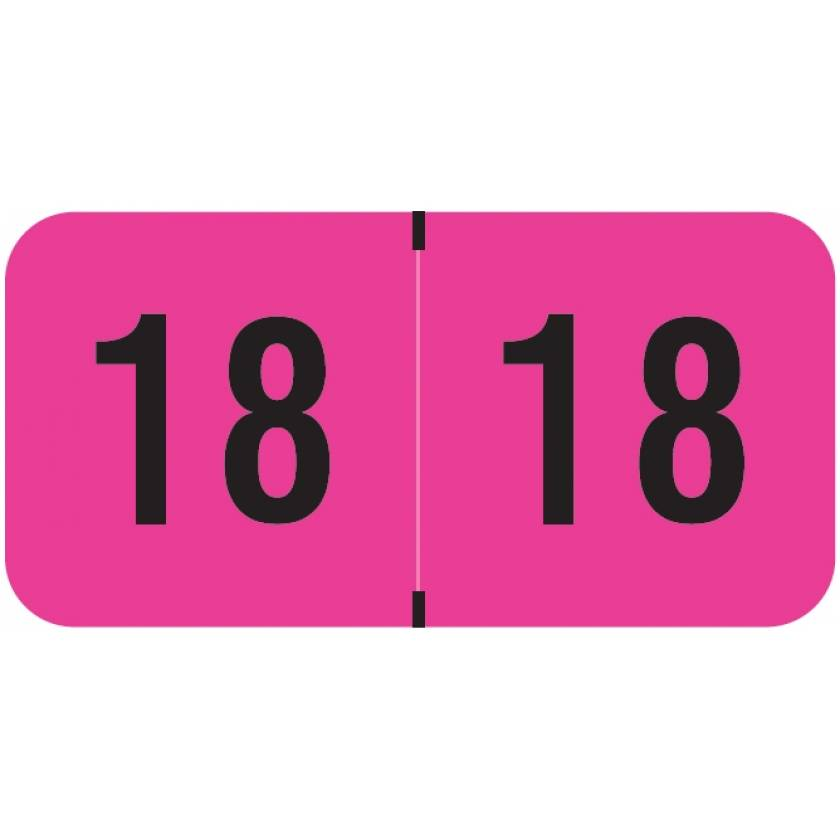 """2018 Year Labels - PMA Fluorescent Pink - Size 3/4"""" H x 1 1/2"""" W"""