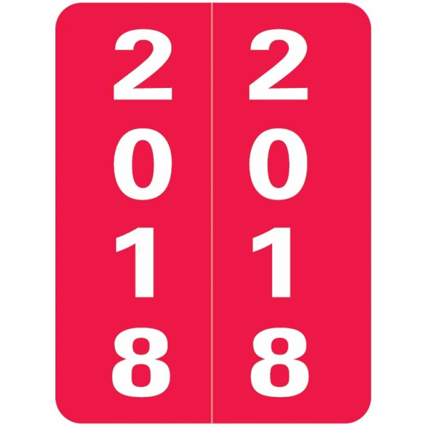"""2018 Year Labels - Smead Compatible - Size 2""""H x 1 1/2""""W"""