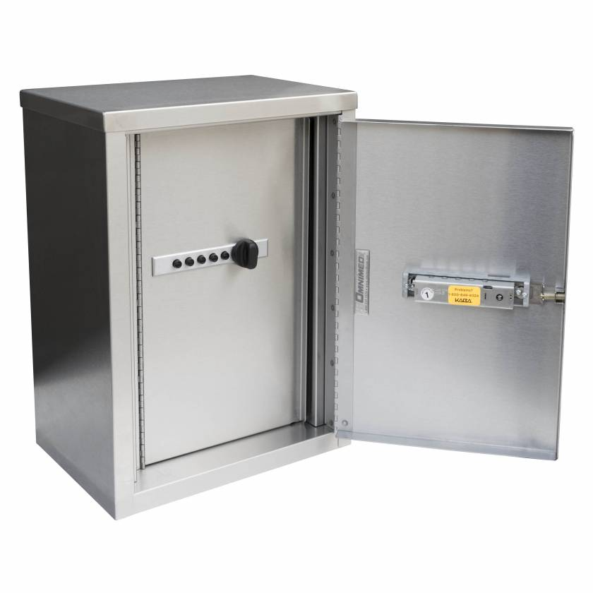 """Double Door Narcotic Cabinet with Push Button Lock - 15"""" H x 11"""" W x 8"""" D"""