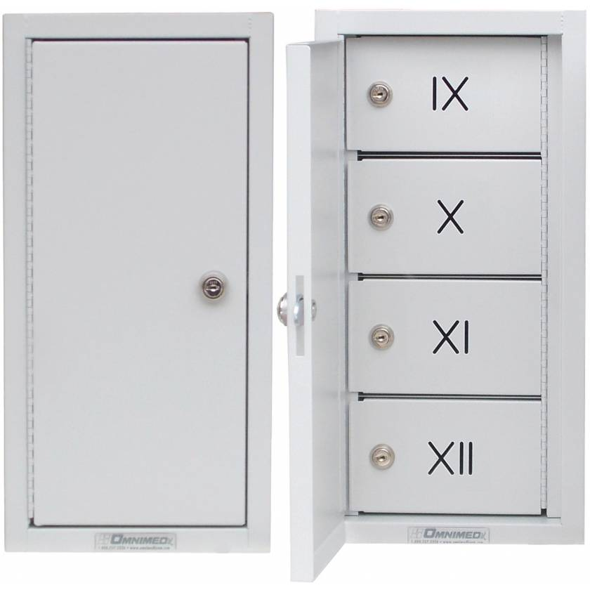 Segmented Narcotics Cabinet - Compartment Labeled IX-XII