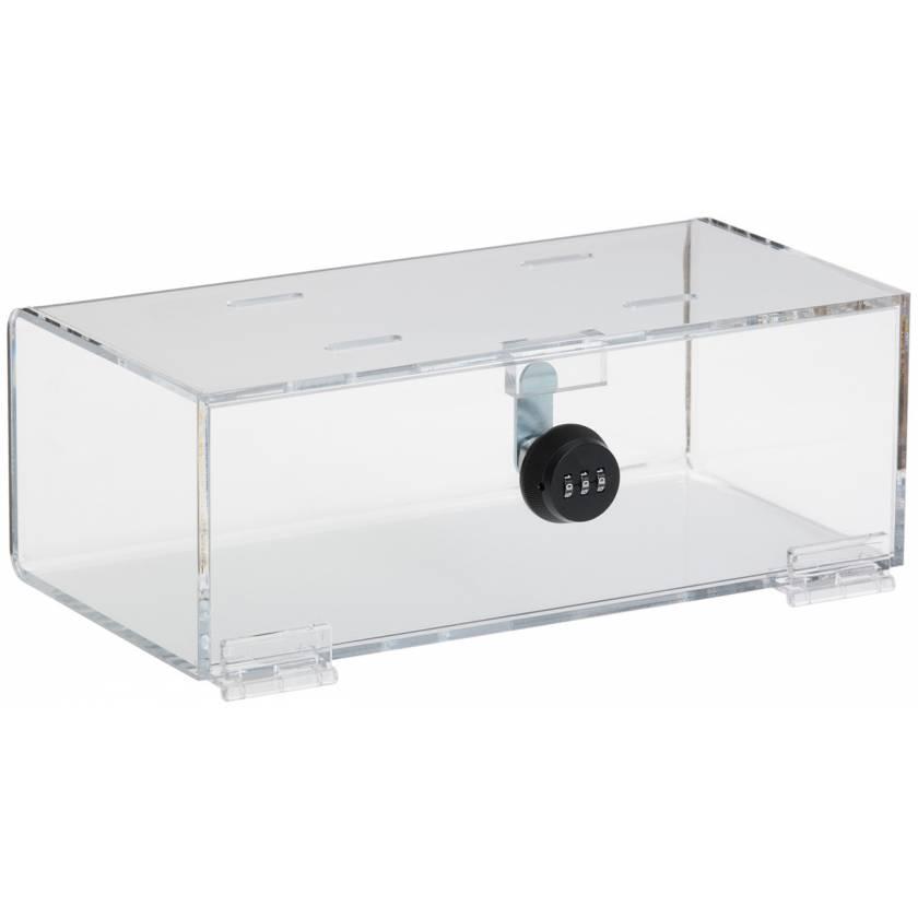 "Refrigerator Lock Box with Combination Lock - Clear Acrylic - 4.25"" H x 12"" W x 6"" D"