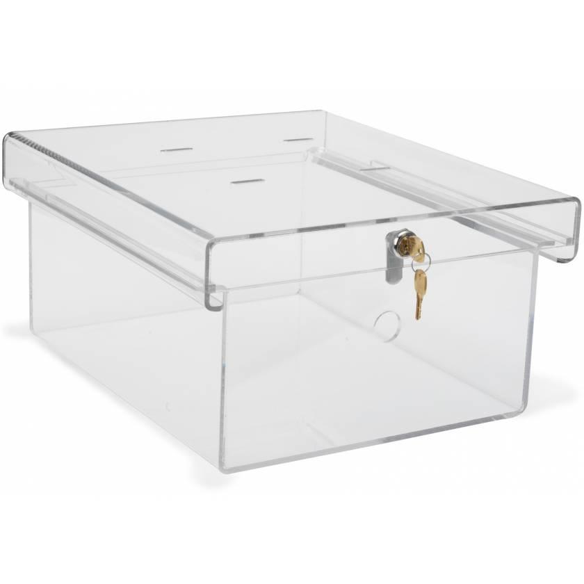 X-Large Clear Acrylic Refrigerator Lock Box with Key Lock