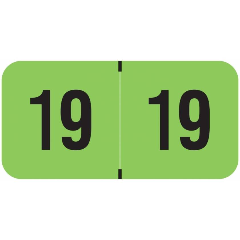 """2019 Year Labels - PMA Fluorescent Green - Size 3/4"""" H x 1 1/2"""" W"""