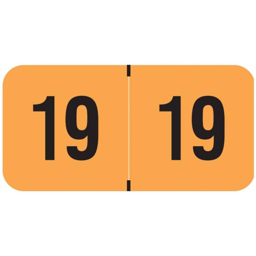 "2019 Year Labels - PMA Fluorescent Orange - Size 3/4"" H x 1 1/2"" W"