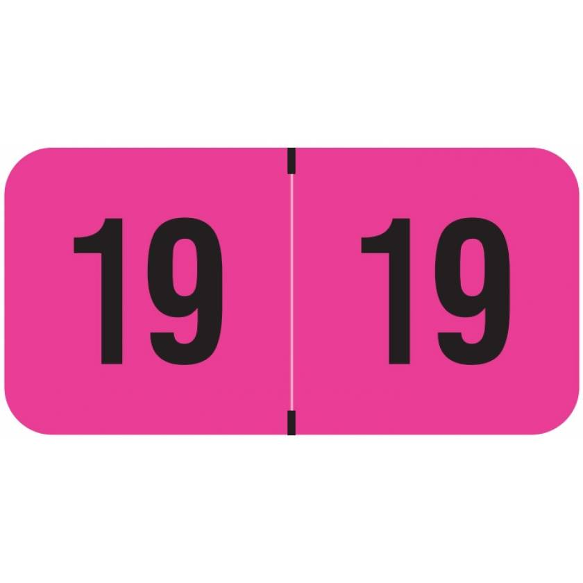 "2019 Year Labels - PMA Fluorescent Pink - Size 3/4"" H x 1 1/2"" W"