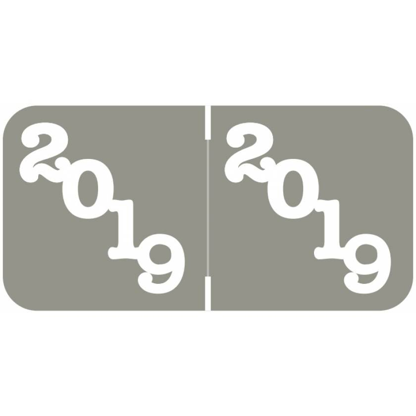 """2019 Year Labels - Jeter Compatible - Size 3/4"""" H x 1 1/2"""" W - Grey Label"""