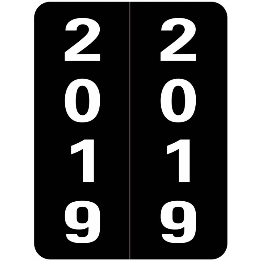 """2019 Year Labels - Smead Compatible - Size 2"""" H x 1 1/2"""" W"""