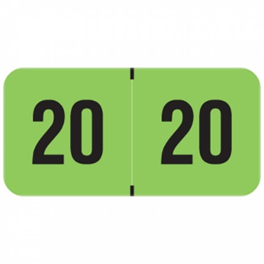 """2020 FGYM Year Labels - PMA Fluorescent Green - Size 3/4"""" H x 1 1/2"""" W"""