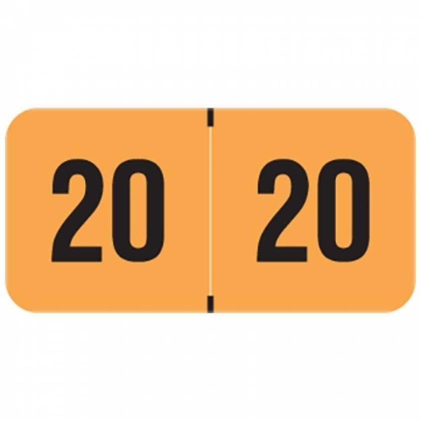 "2020 FOYM Year Labels - PMA Fluorescent Orange - Size 3/4"" H x 1 1/2"" W"