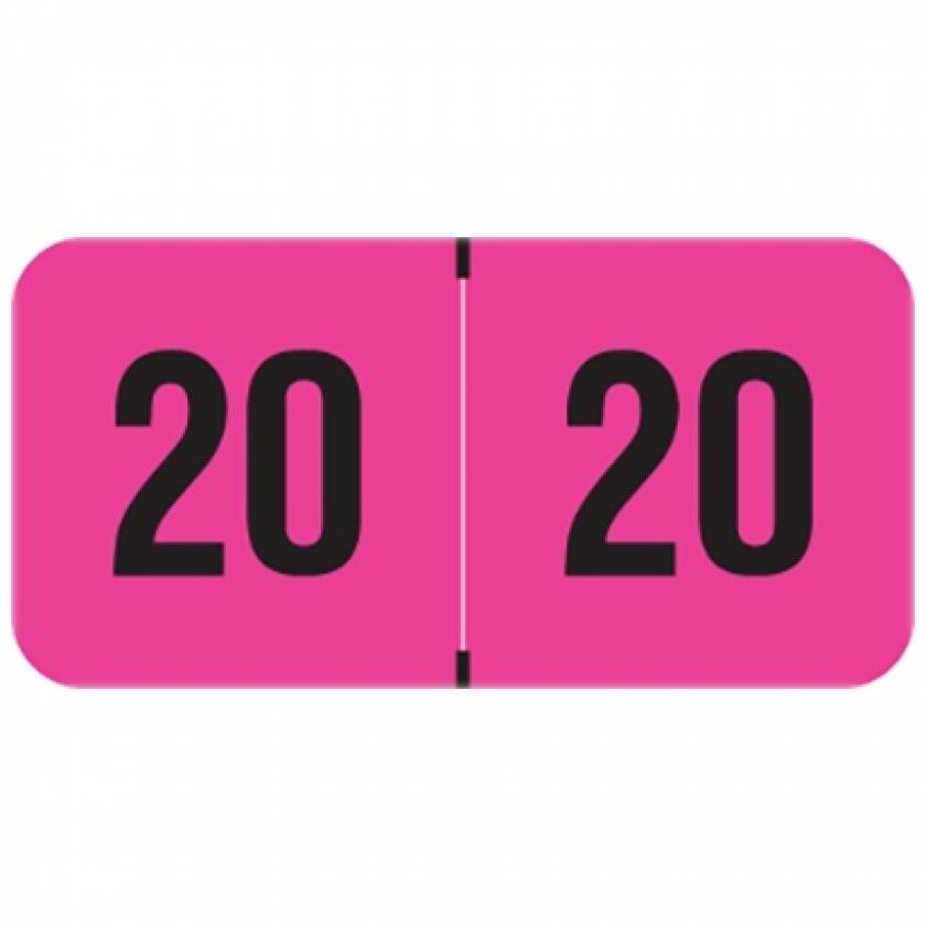 """2020 FPYM Year Labels - PMA Fluorescent Pink - Size 3/4"""" H x 1 1/2"""" W"""