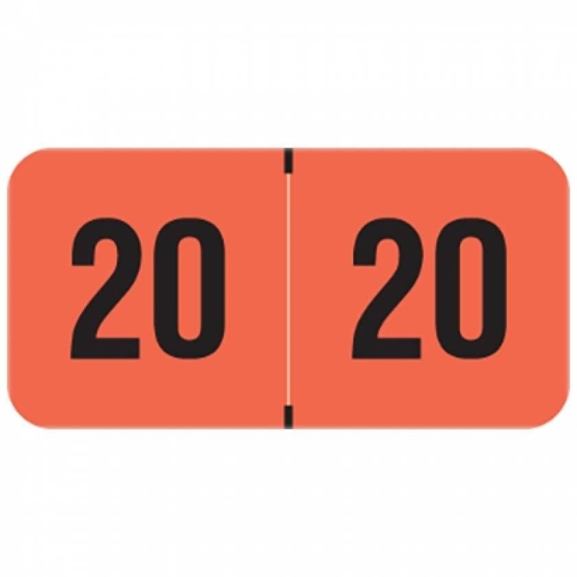 "2020 FRYM Year Labels - PMA Fluorescent Red - Size 3/4"" H x 1 1/2"" W"