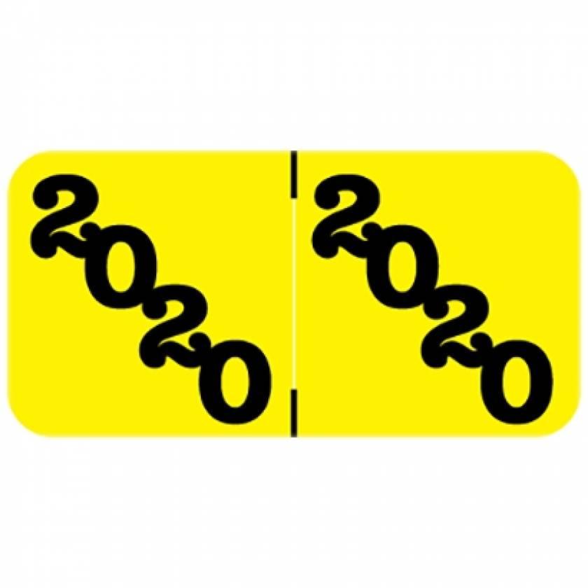 "2020 Year Labels - YPYM Jeter Compatible - Size 3/4"" H x 1 1/2"" W - Orange Label"