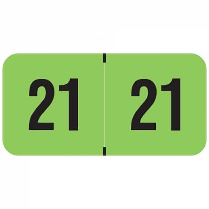 """2021 Year Labels - PMA Fluorescent Green - Size 3/4"""" H x 1 1/2"""" W"""
