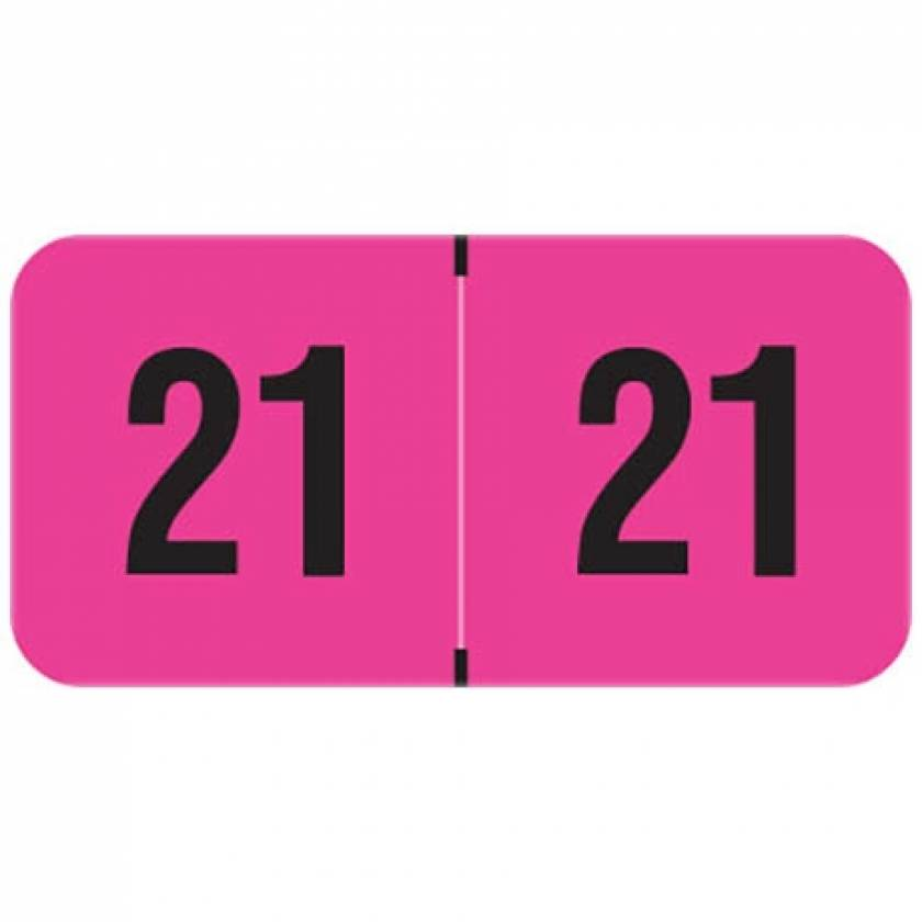 """2021 Year Labels - PMA Fluorescent Pink - Size 3/4"""" H x 1 1/2"""" W"""