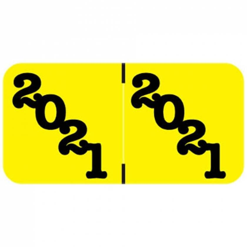 """2021 Year Labels - Jeter Compatible - Size 3/4"""" H x 1 1/2"""" W - Yellow Label"""
