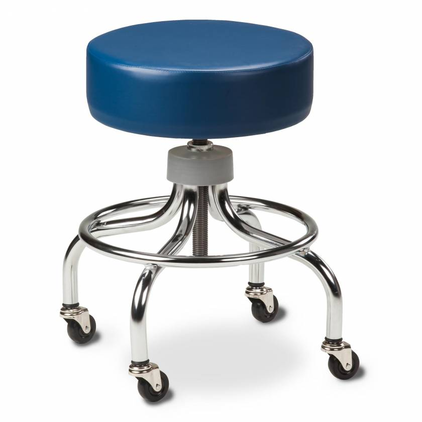 "Clinton Model 2102 Chrome Base Stool With Round Foot Ring & 2"" Rubber Wheel Ball Bearing Casters"